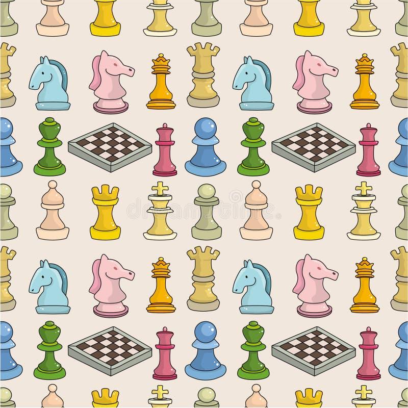 Cartoon chess seamless pattern royalty free illustration