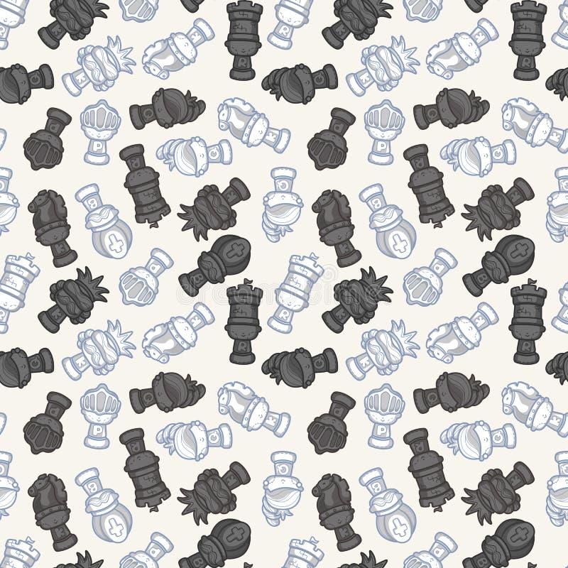 Cartoon chess seamless pattern stock illustration
