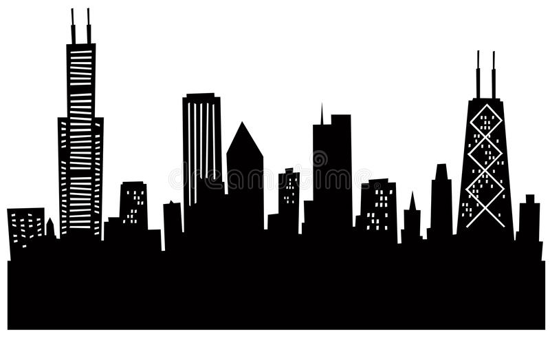 Cartoon Chicago Skyline stock illustration