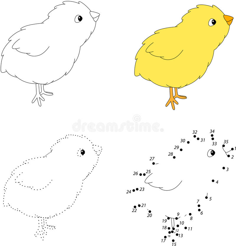 Cartoon chick. Vector illustration. Dot to dot game for kids stock illustration