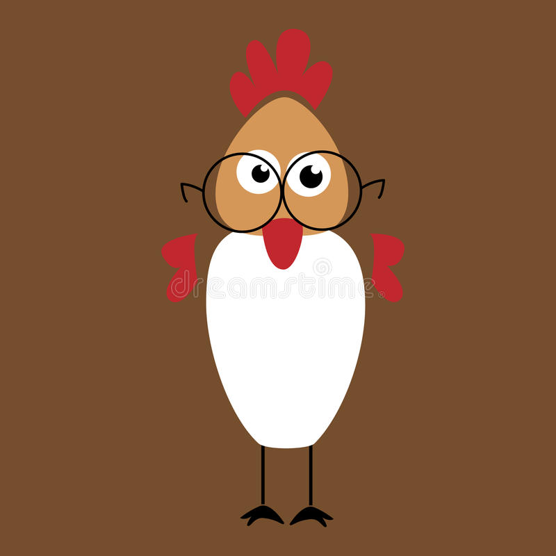 Cartoon Chicken Wearing Glasses royalty free stock images