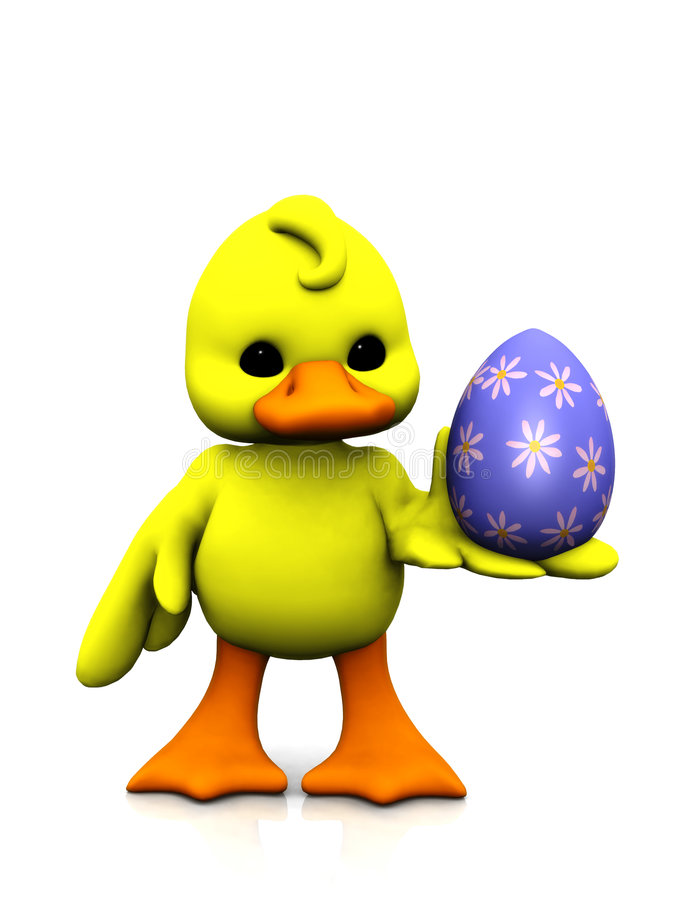 Free Cartoon Chicken With Easter Egg Royalty Free Stock Photography - 8236317