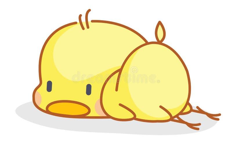 Cartoon chicks posing sleep. Cute cartoon chicks posing sleep stock illustration