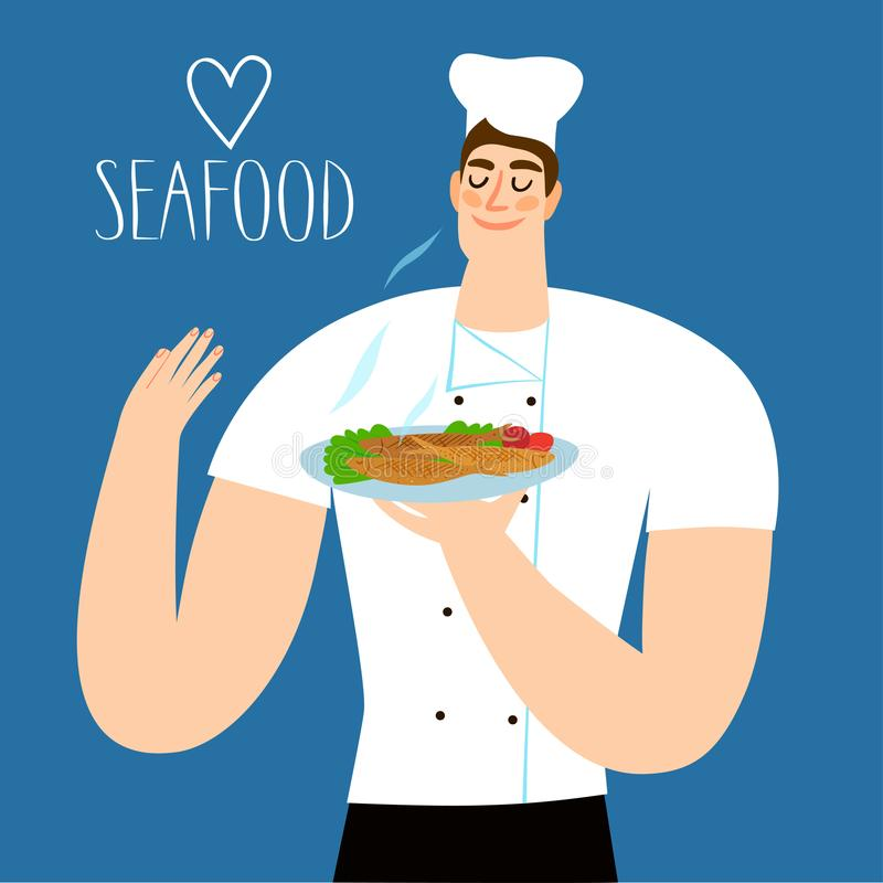 Cartoon chief holding plate with fried fish. royalty free illustration