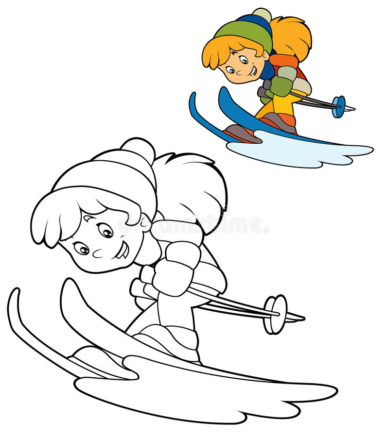 Cartoon child - activity - illustration for the children royalty free illustration