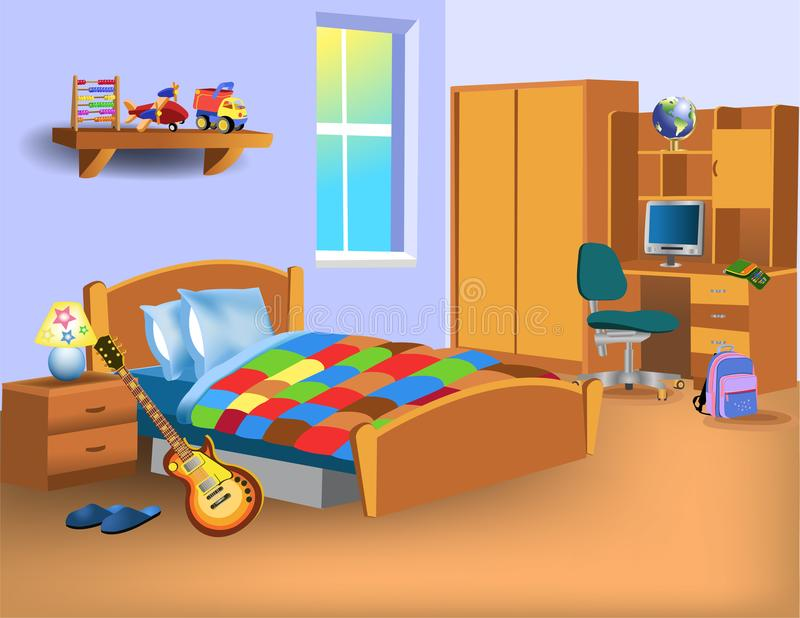 Cartoon child bedroom with computer on desk, toys and electric guitar. Near the bed vector illustration