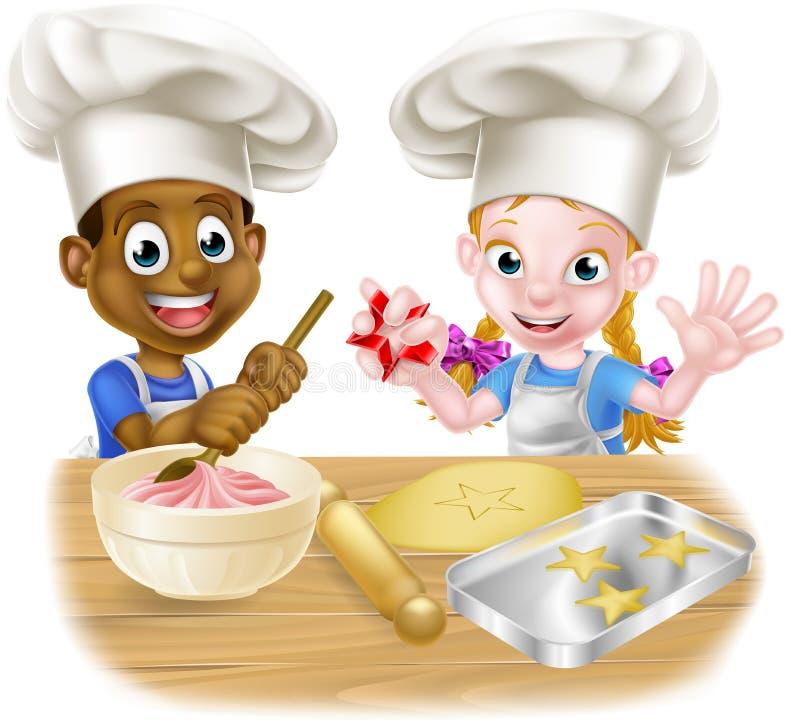 Cartoon Child Chefs Baking Cakes Stock Vector ...
