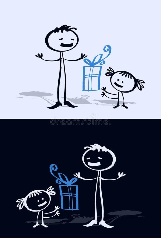 Cartoon child & dad vector illustration