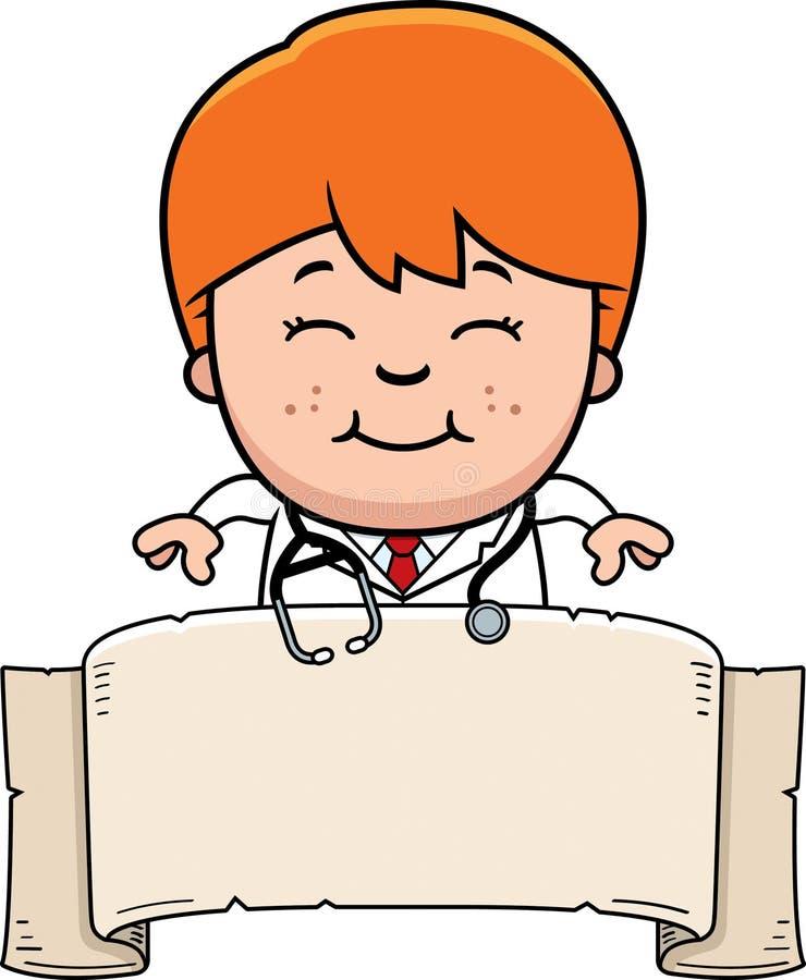 Cartoon Child Doctor Banner. A cartoon illustration of a child doctor with a banner stock illustration