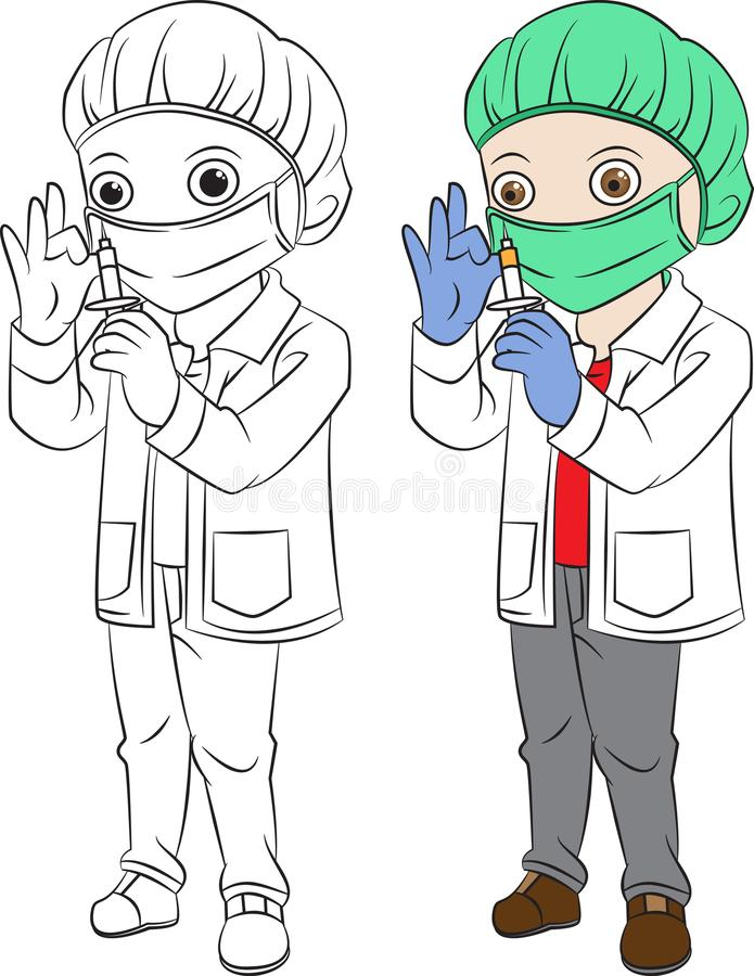 Cartoon child doctor. both in separated layer for easy editing. Cartoon boy doctor using hairnet and hold injection royalty free illustration