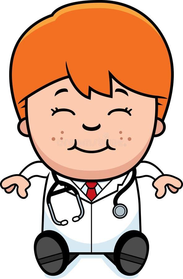 Cartoon Child Doctor Sitting. A cartoon illustration of a child doctor sitting vector illustration
