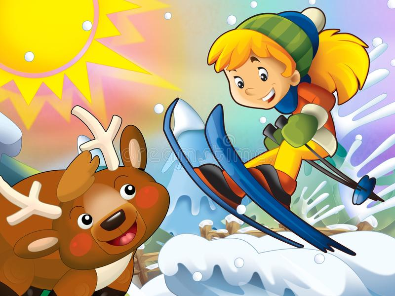 Download The Cartoon Child Downhill Jump - With Christmas Characters Royalty Free Stock Photos - Image: 28974838