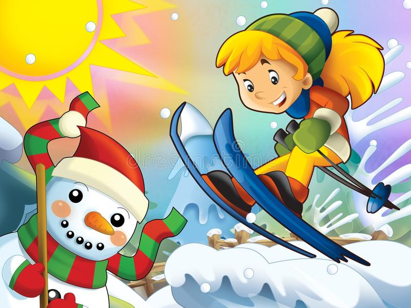 Download The Cartoon Child Downhill Jump - With Christmas Characters Stock Illustration - Image: 28974881