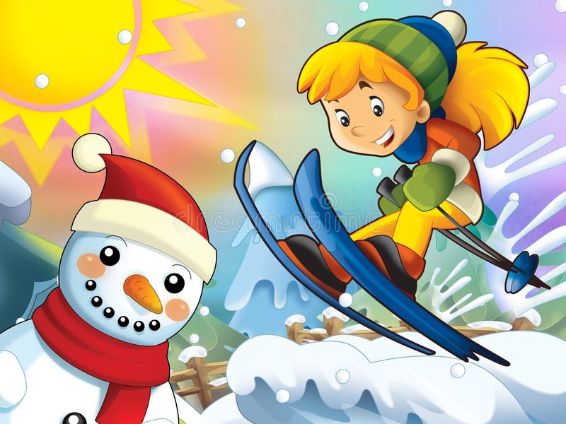 Download The Cartoon Child Downhill Jump - With Christmas Characters Stock Illustration - Image: 28974890