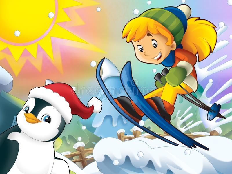 Download The Cartoon Child Downhill Jump - With Christmas Characters Stock Illustration - Image: 28974896