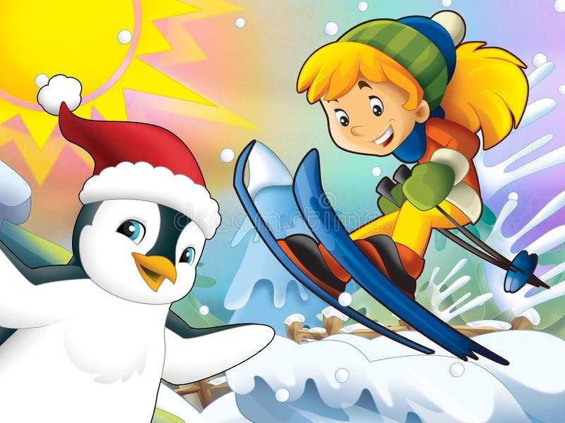 The Cartoon Child Downhill Jump - With Christmas Characters Stock Images