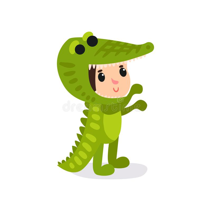 Cartoon child in funny crocodile costume. Boy or girl character wearing animal festive suit. Children party. Flat vector stock illustration