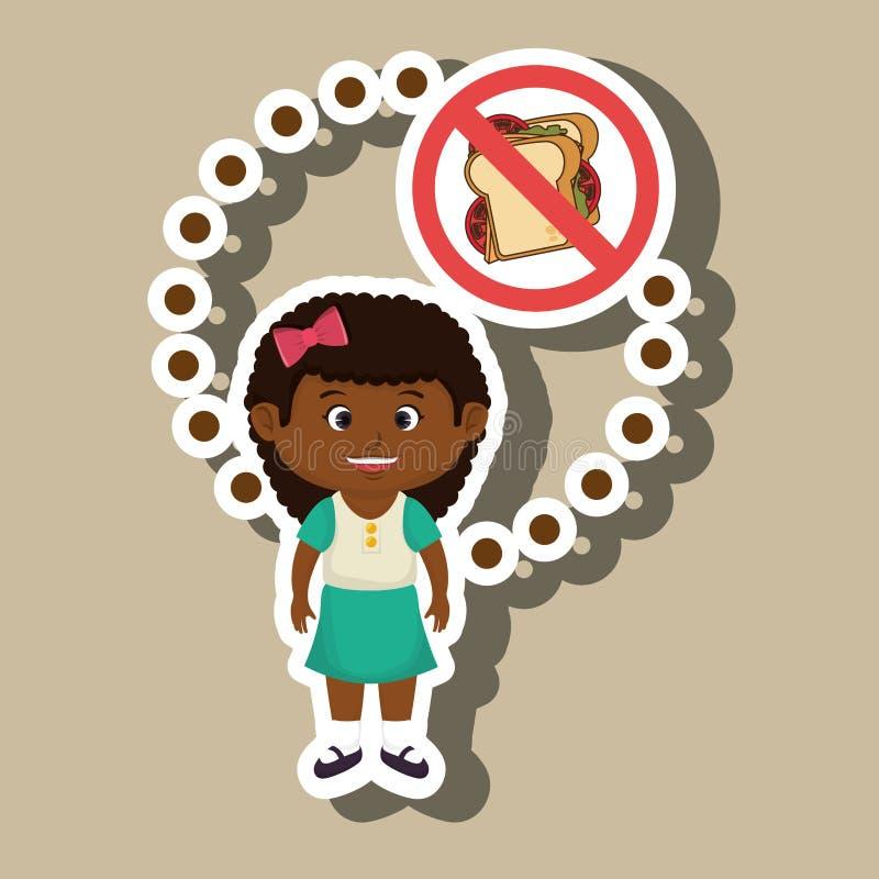 Cartoon child girl fast food danger symbol. Illustration royalty free illustration