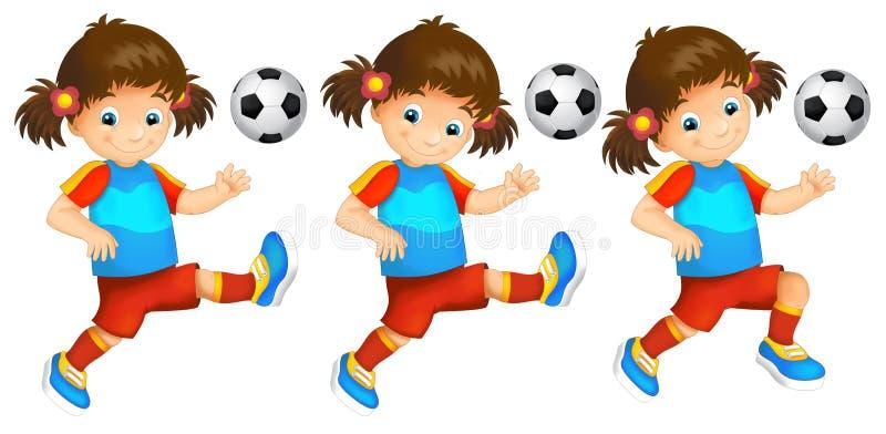 Download Cartoon Child - Girl - Playing Football - Activity Stock Illustration - Image: 83720974