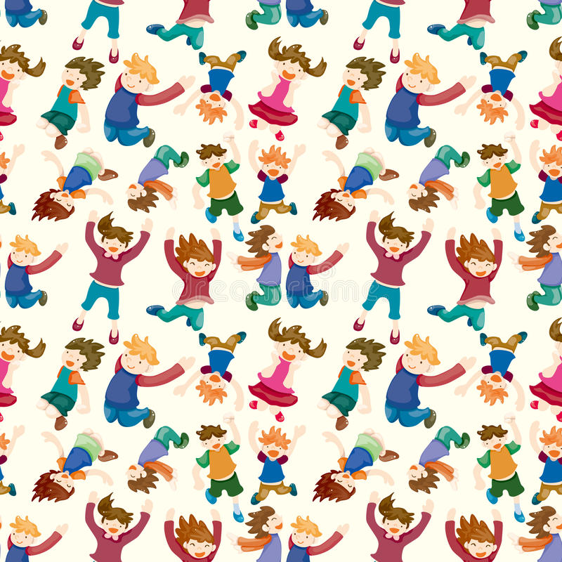 Cartoon child jump seamless pattern vector illustration