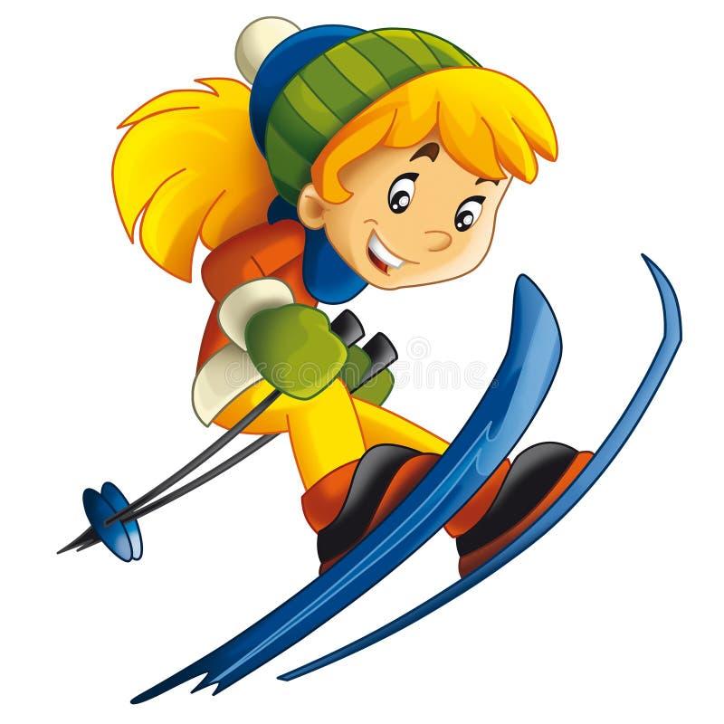 cartoon child - ski - activity - stock illustration - illustration