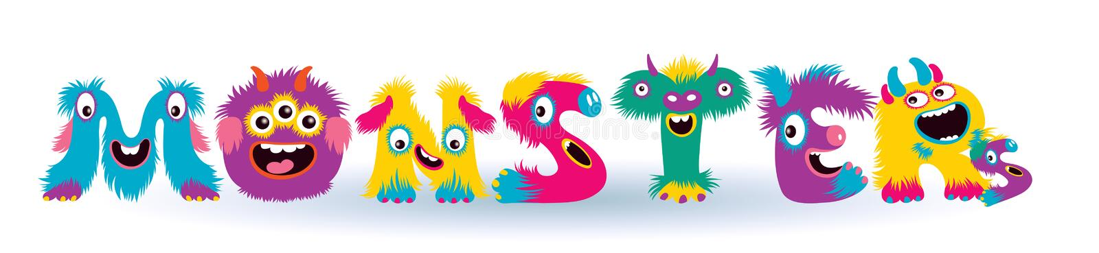 Cartoon children cute and funny monster letters royalty free stock photos