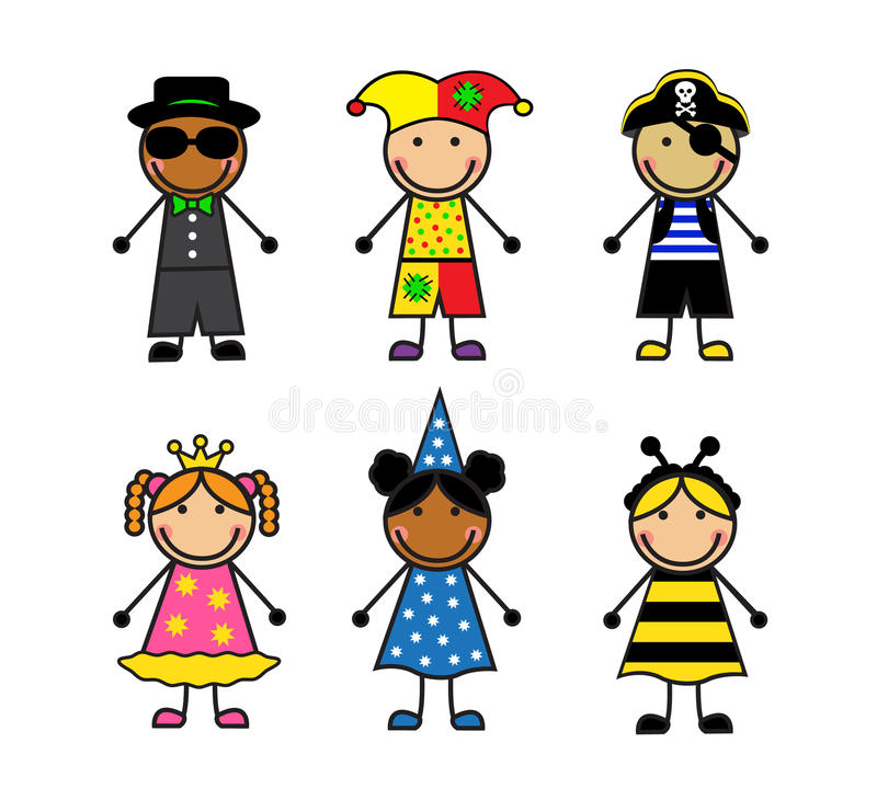 Cartoon children in different carnival costumes royalty free illustration
