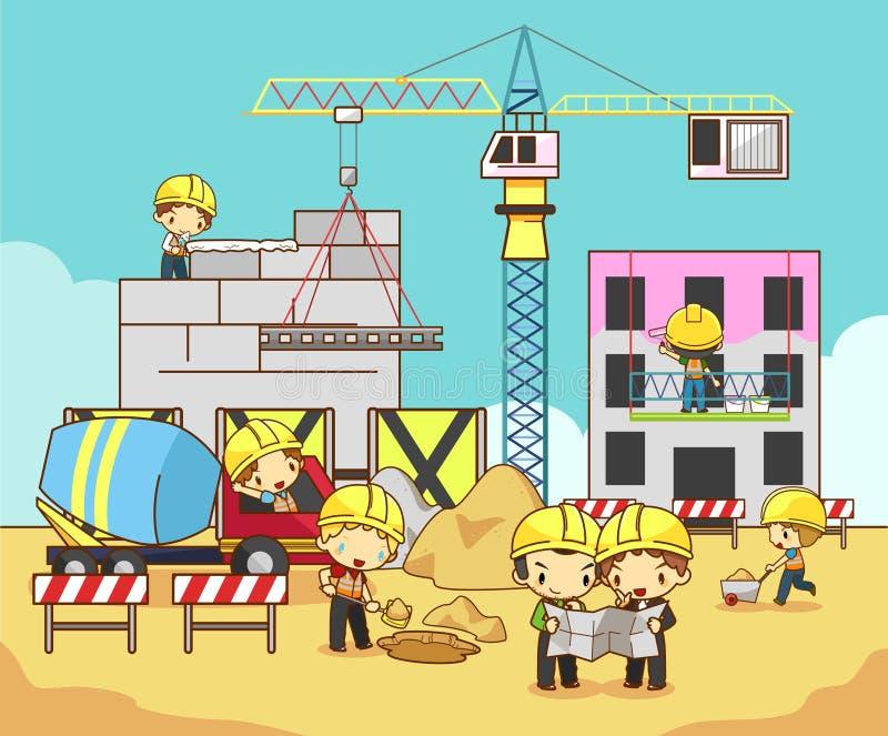 Building Construction Graphics : Cartoon children engineer technician and labor worker