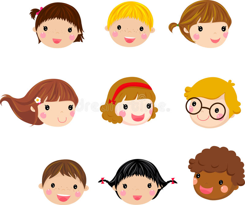 Cartoon children face stock illustration