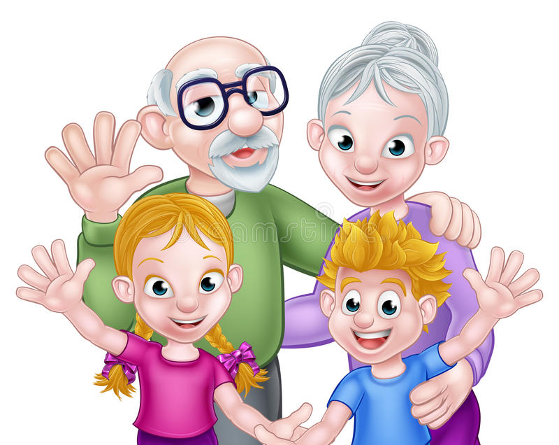 Cartoon Children and Grandparents stock illustration