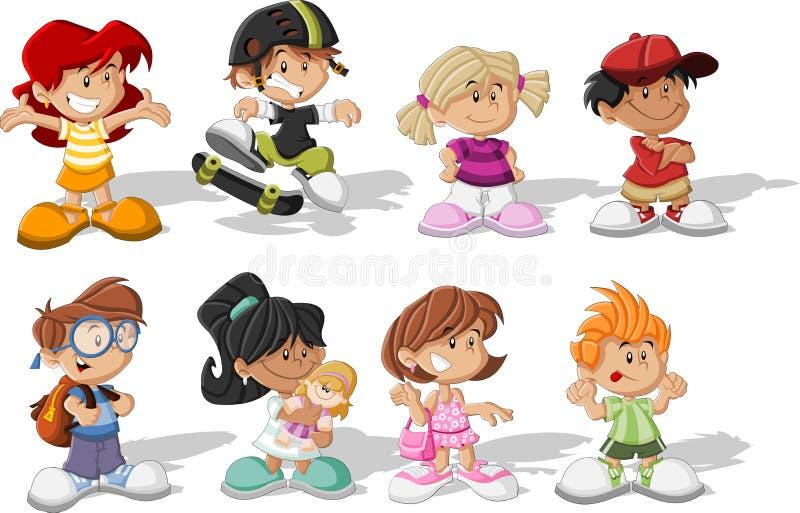 Cartoon children. Group of happy cartoon children royalty free illustration