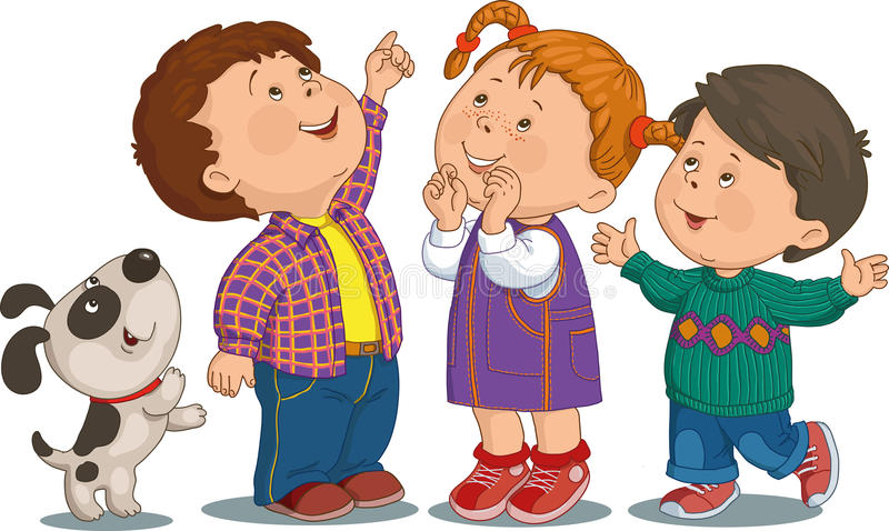 Cartoon children. Cartoon group of children who are smiling and looking up royalty free illustration
