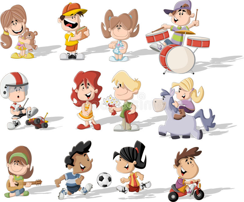 Cartoon children playing. Group of happy cartoon children playing stock illustration