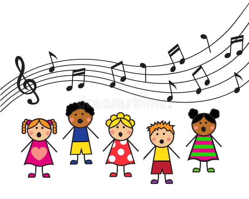 Cartoon children sing stock illustration
