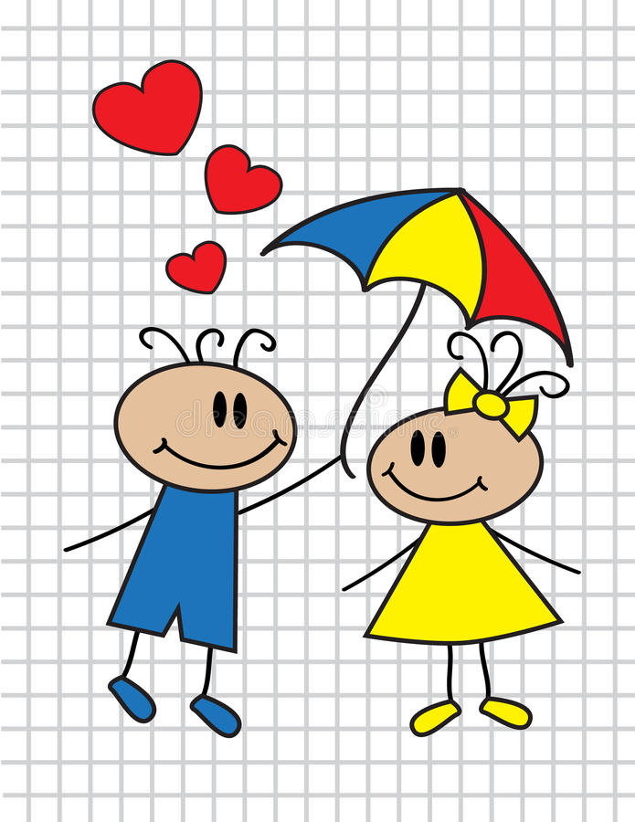 Download Cartoon Children With Umbrella Royalty Free Stock Photography - Image: 27587157