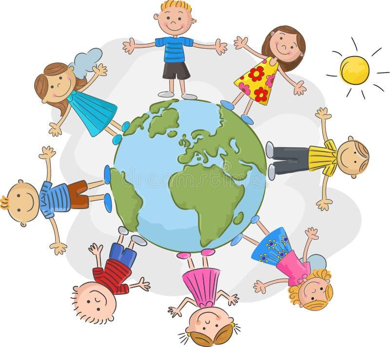 Cartoon children world over. Illustration of Cartoon children world over stock illustration
