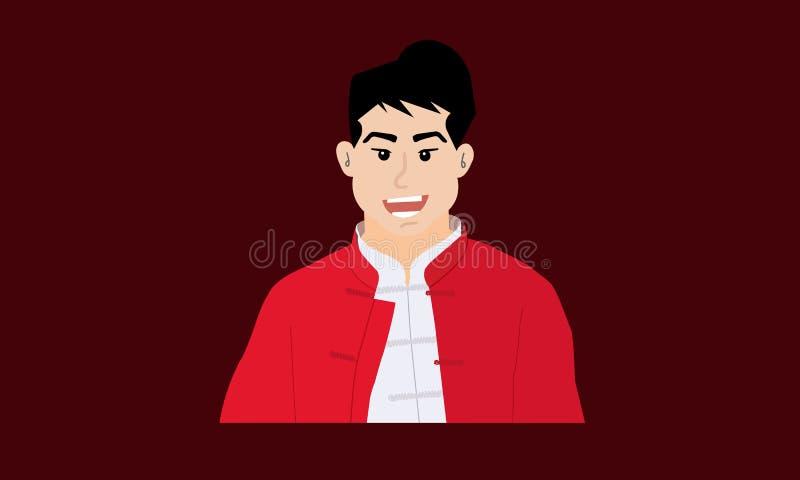 Cartoon chinês vestido com roupas tradicionais vermelhas foto de stock