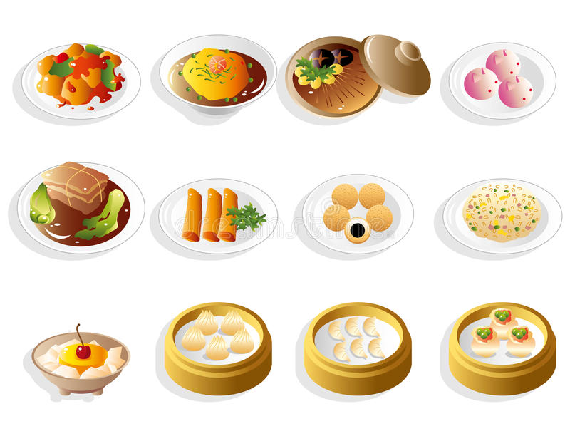 Cartoon chinese food icon set royalty free illustration
