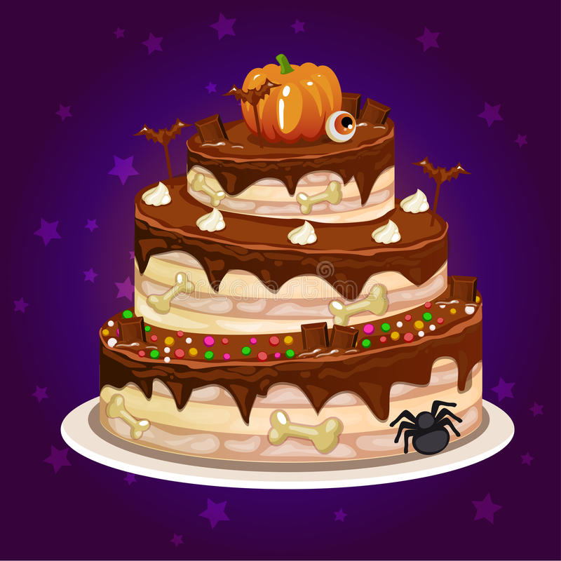 Cartoon chocolate and a big cake for Halloween party royalty free illustration