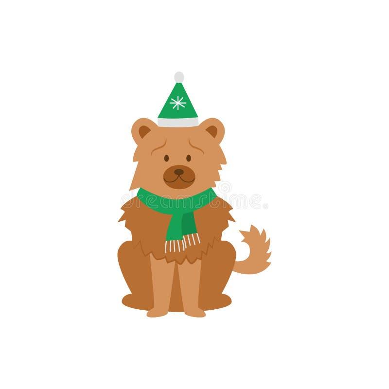 Cartoon chow dog met een groene kersthoed en sjaal vector illustratie