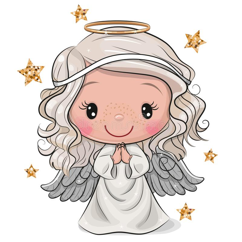 Free Cartoon Christmas Angel Isolated On White Background Stock Photos - 163746933