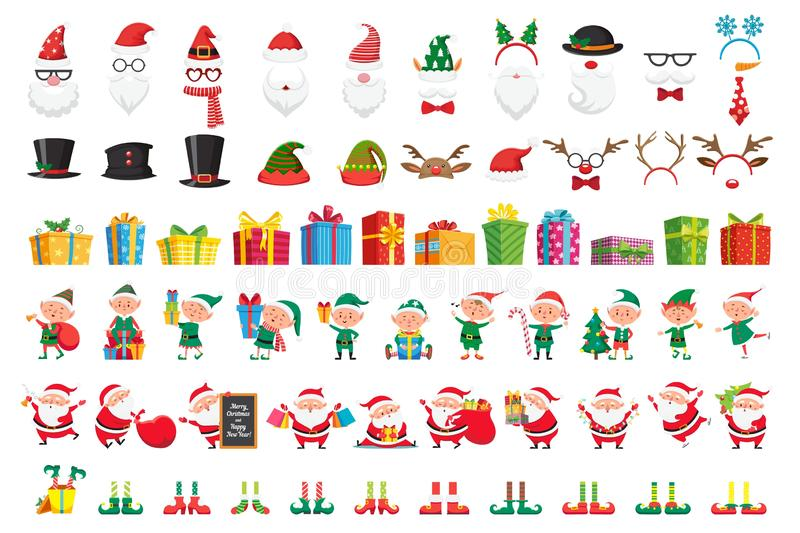Cartoon Christmas collection. Xmas hats and New Year gifts. Santa Claus and elves helpers characters vector set royalty free illustration
