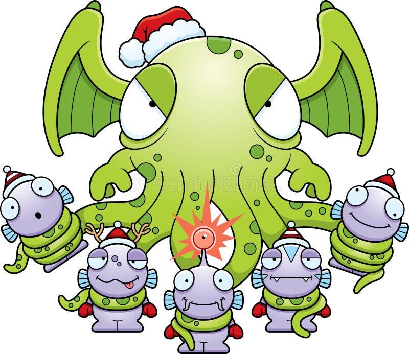 Cartoon Christmas Monsters stock illustration