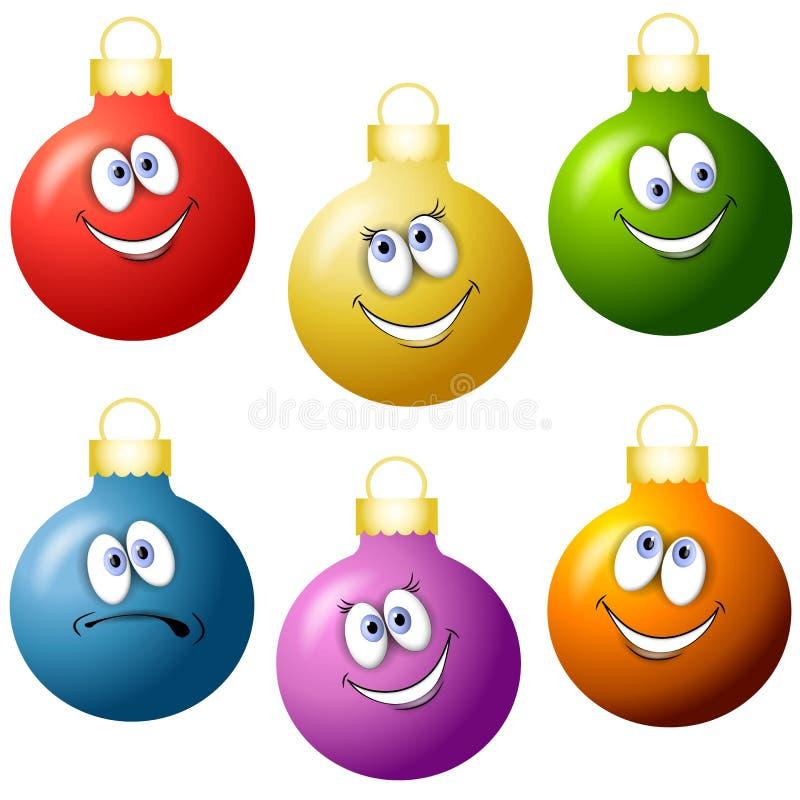 Cartoon christmas ornaments stock illustration
