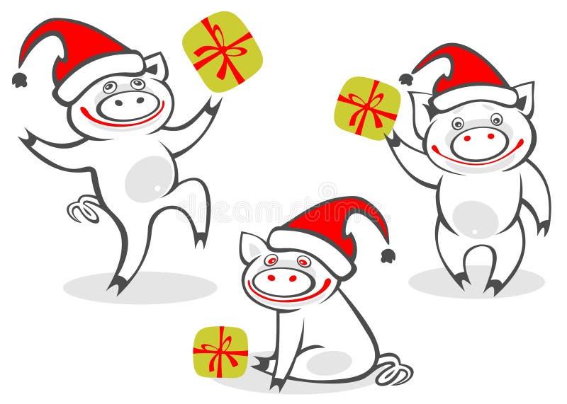 Download Cartoon christmas piggies stock vector. Image of black - 7424248