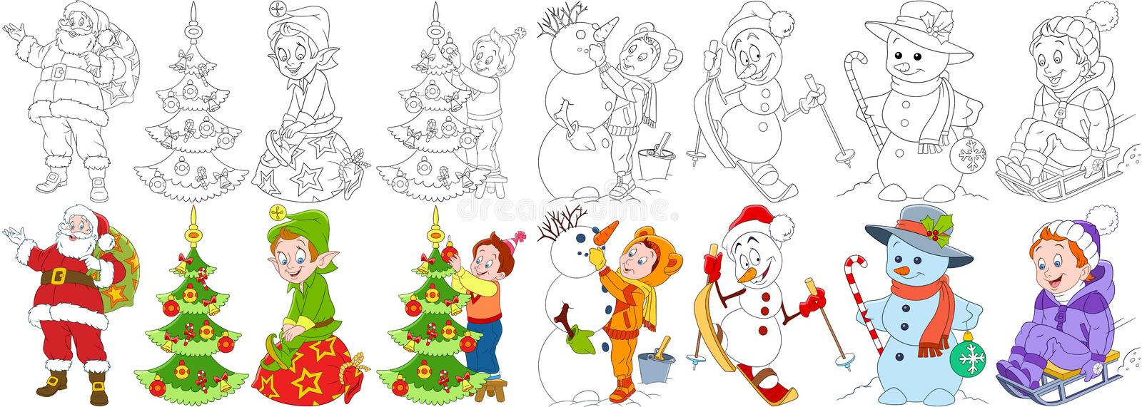 Cartoon christmas set royalty free illustration