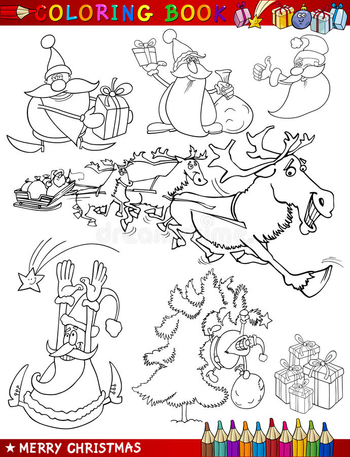 Download Cartoon Christmas Themes For Coloring Stock Vector - Image: 26824436