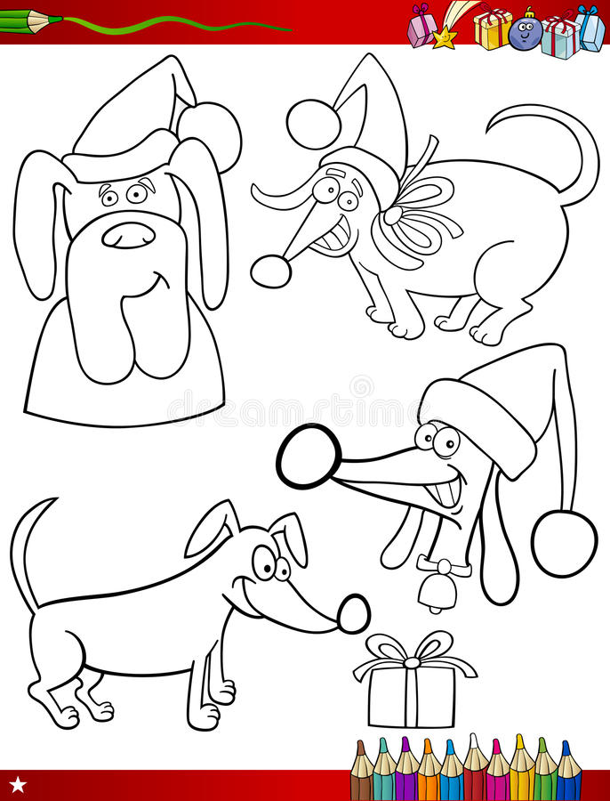 Download Cartoon Christmas Themes Coloring Page Stock Vector - Image: 34043299