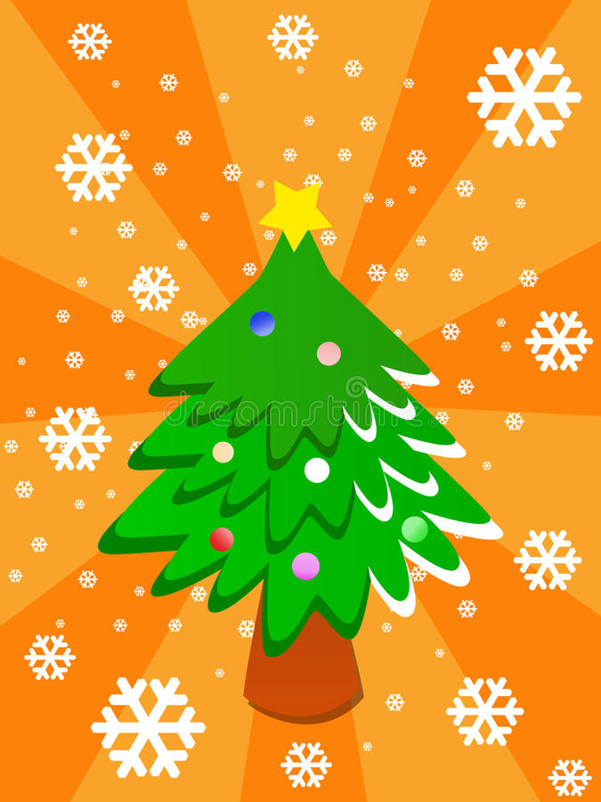 Cartoon Christmas Tree Stock Photo