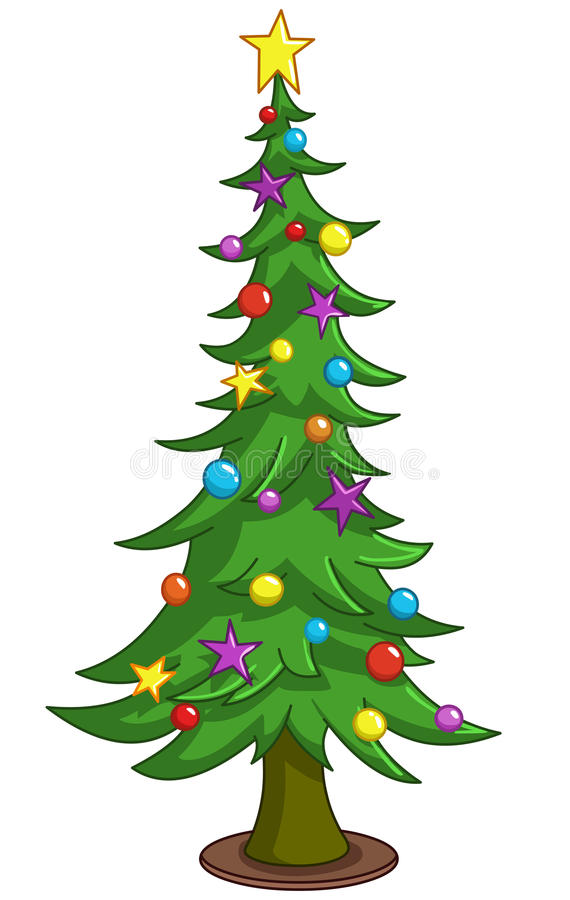 Cartoon Christmas tree. Decorated Christmas tree with decorations